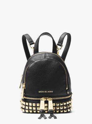 마이클 마이클 코어스 백팩 Michael Michael Kors Rhea Mini Studded Leather Backpack,BLACK