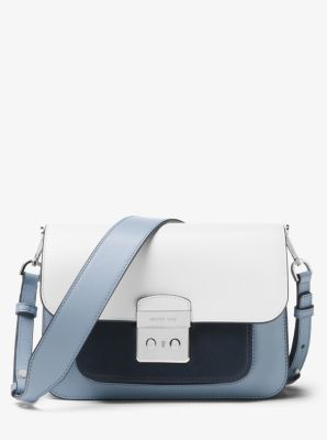마이클 마이클 코어스 Michael Michael Kors Sloan Editor Color-Block Leather Shoulder Bag,BLACK COMBO
