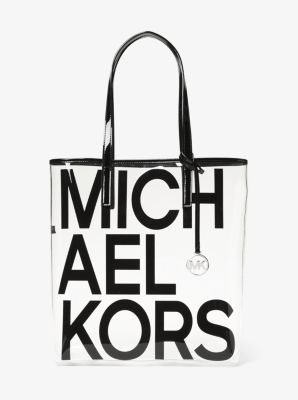 마이클 마이클 코어스 Michael Michael Kors The Michael Large Graphic Logo Print Clear Tote