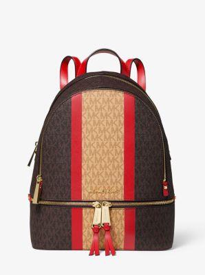 마이클 마이클 코어스 레아  백팩 Michael Michael Kors Rhea Medium Striped Logo and Leather Backpack