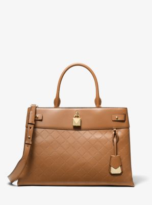 마이클 마이클 코어스 Michael Michael Kors Gramercy Large Chain-Embossed Leather Satchel