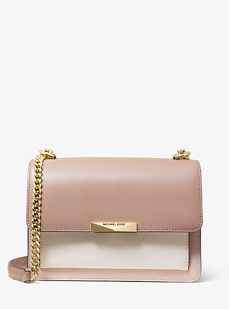 Michael Kors Jade Large Tri-color Leather Crossbody In Pink
