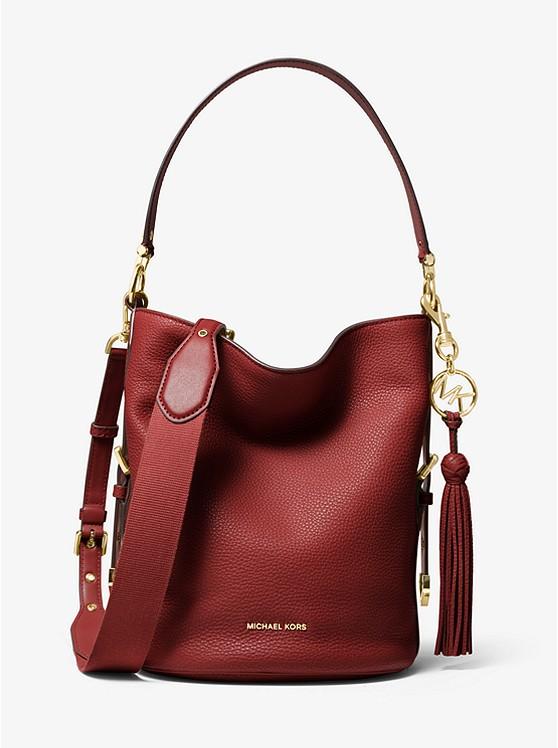 Brooke Medium Pebbled Leather Bucket Bag | Michael Kors