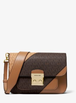 마이클 마이클 코어스 Michael Michael Kors Sloan Editor Two-Tone Logo and Leather Shoulder Bag