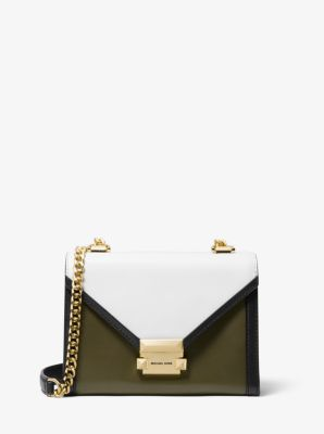 마이클 마이클 코어스 Michael Michael Kors Whitney Small Tri-Color Leather Convertible Shoulder Bag,OLIVE COMBO