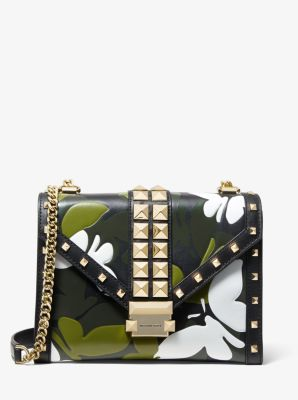 마이클 마이클 코어스 Michael Michael Kors Whitney Large Butterfly Camo Convertible Shoulder Bag,BLACK COMBO