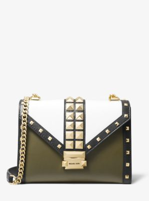 마이클 마이클 코어스 Michael Michael Kors Whitney Large Studded Tri-Color Leather Convertible Shoulder Bag,OLIVE COMBO