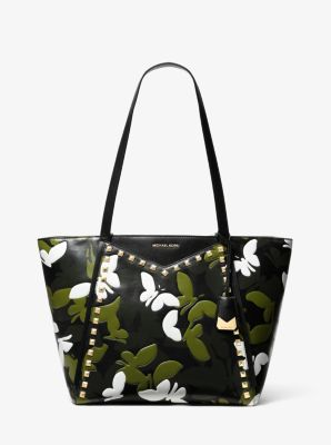 마이클 마이클 코어스 Michael Michael Kors Whitney Large Butterfly Camo Leather Tote,BLACK COMBO