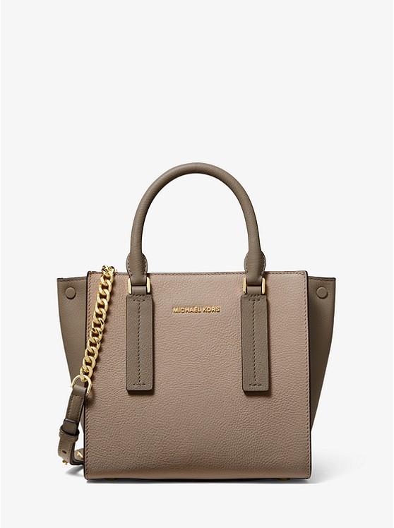 Alessa Small Color-Block Pebbled Leather Satchel | Michael Kors