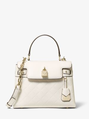 마이클 마이클 코어스 Michael Michael Kors Gramercy Medium Chain-Embossed Leather Satchel,LT CREAM
