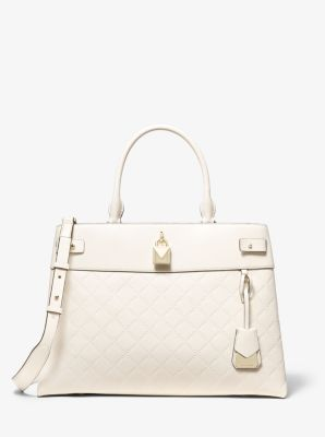 마이클 마이클 코어스 Michael Michael Kors Gramercy Large Chain-Embossed Leather Satchel,LT CREAM