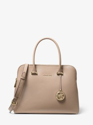 마이클 마이클 코어스 Michael Michael Kors Houston Medium Crossgrain Leather Satchel,TRUFFLE