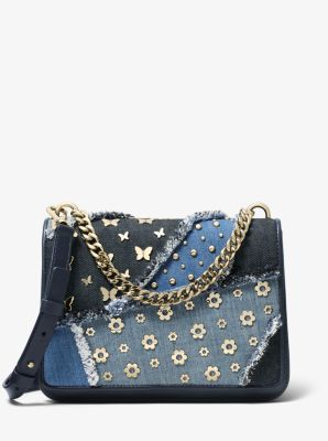 마이클 마이클 코어스 Michael Michael Kors Mott Large Embellished Patchwork Crossbody,DENIM MULTI