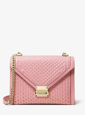 마이클 마이클 코어스 Michael Michael Kors Whitney Large Studded Leather Convertible Shoulder Bag,CARNATION