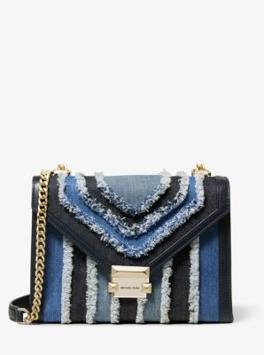 마이클 마이클 코어스 Michael Michael Kors Whitney Large Frayed Denim Convertible Shoulder Bag,DENIM MULTI