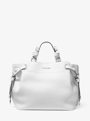 마이클 마이클 코어스 Michael Michael Kors Greta Large Pebbled Leather Satchel,OPTIC WHITE