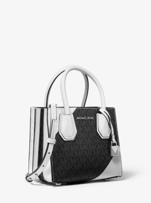 마이클 마이클 코어스 Michael Michael Kors Mercer Two-Tone Logo and Leather Accordion Crossbody Bag,BLACK/WHITE