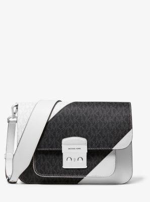 마이클 마이클 코어스 Michael Michael Kors Sloan Editor Two-Tone Logo and Leather Shoulder Bag,OPTIC WHITE/BLK
