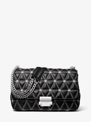 마이클 마이클 코어스 Michael Michael Kors Sloan Large Quilted Leather Shoulder Bag,BLACK