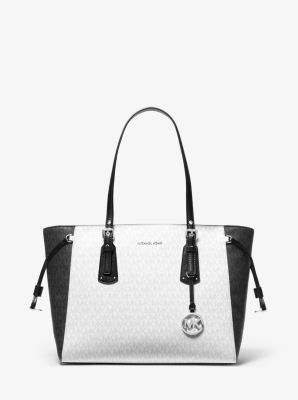 마이클 마이클 코어스 Michael Michael Kors Voyager Medium Two-Tone Logo Tote Bag,WHITE COMBO