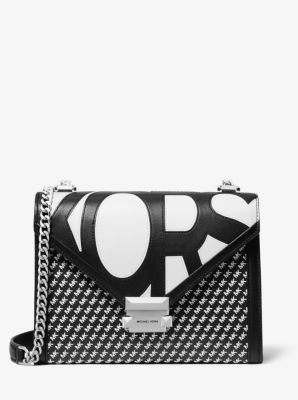 마이클 마이클 코어스 Michael Michael Kors Whitney Large Graphic Logo Convertible Shoulder Bag,BLACK/WHITE