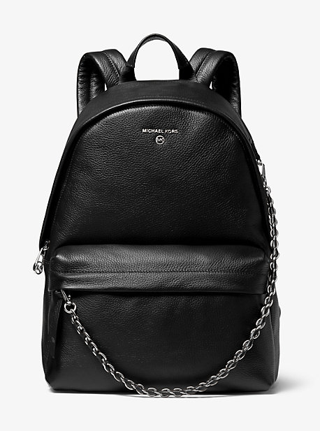 Michael Kors Slater Large Pebbled Black Leather Backpack
