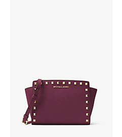 Selma Medium Studded Leather Messenger by Michael Kors