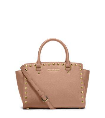 $262.4 MICHAEL Michael Kors  Selma Medium Studded Saffiano Leather Satchel