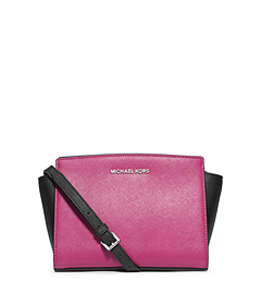 Selma Color-BLock Saffiano Leather Medium Messenger