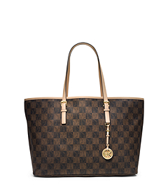 Jet Set Travel Logo Checkerboard Medium Tote