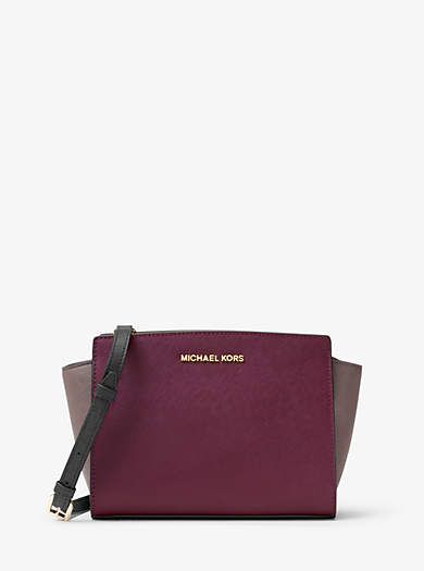 Selma Medium Color-Block Leather Messenger by Michael Kors