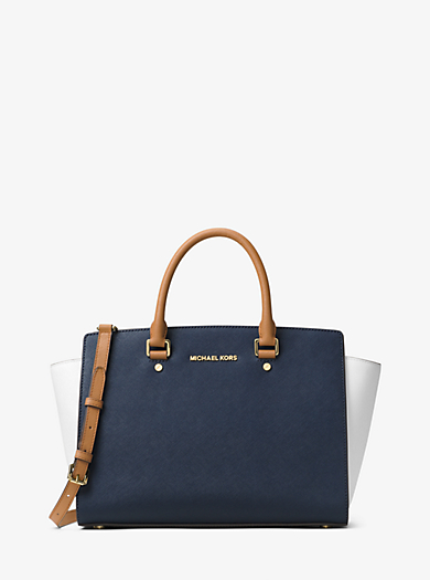 Borsa a mano Selma grande in pelle a blocchi di colore by Michael Kors
