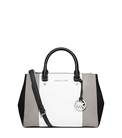 Sutton Tri-Color Saffiano Leather Medium Satchel