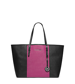 Jet Set Travel Color-BLock Medium Saffiano Leather Tote