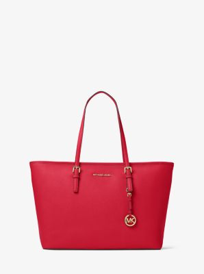 Jet Set Travel Large Saffiano Leather Top-Zip Tote by Michael Kors