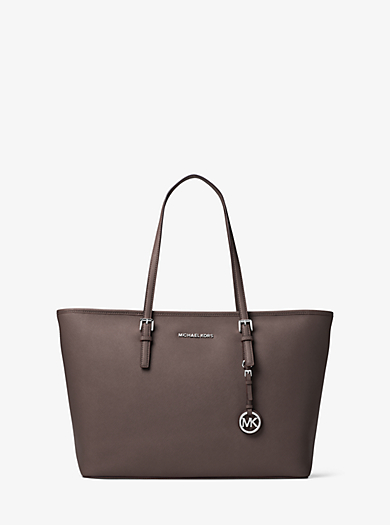 Jet Set Travel Medium Saffiano Leather Top-Zip Tote by Michael Kors