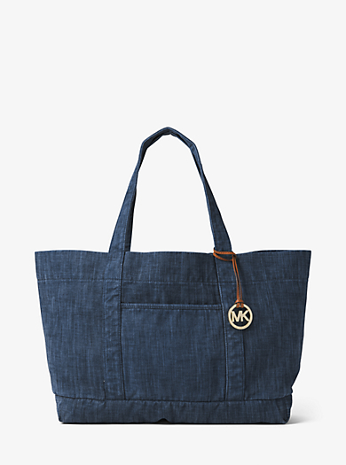 Extra-Large Denim Tote by Michael Kors