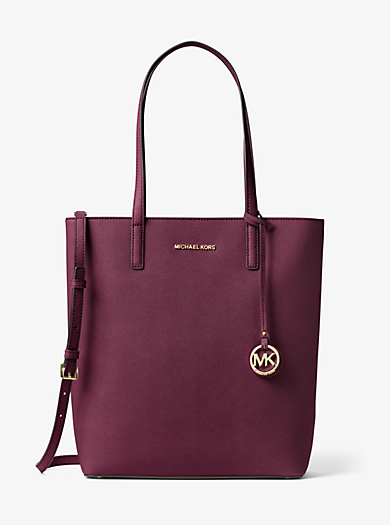 Hayley Large Top-Zip Leather Tote by Michael Kors