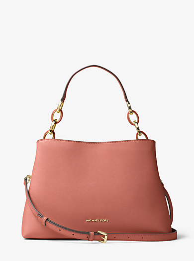Grand sac à épaule Portia en cuir Saffiano by Michael Kors