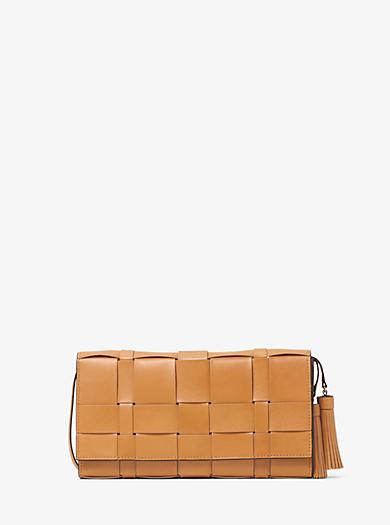 Vivian Woven Leather Clutch by Michael Kors