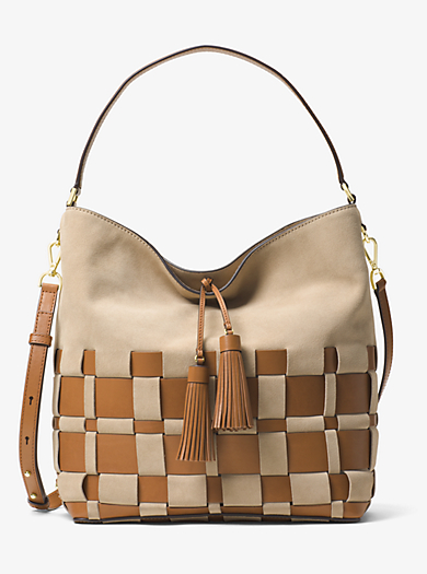 Vivian Large Woven Suede and Leather Hobo by Michael Kors