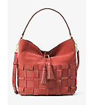 Vivian Large Woven Suede and Leather Hobo