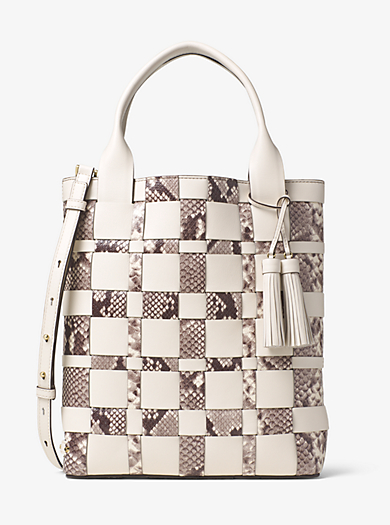 Vivian Large Woven Leather Tote by Michael Kors