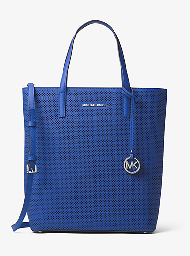 Hayley Large Perforated-Leather Tote Bag by Michael Kors