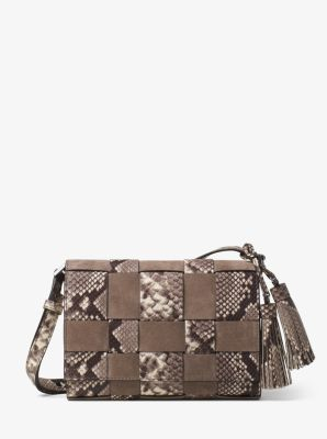 Vivian Medium Woven Embossed-Leather and Suede Crossbody by Michael Kors