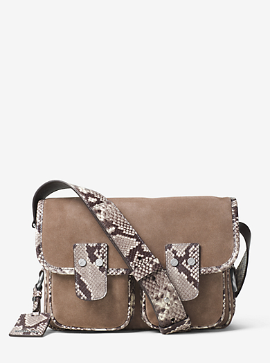 Hewitt Large Embossed-Leather and Suede Crossbody by Michael Kors