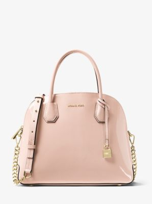 Mercer Large Patent Leather Dome Satchel by Michael Kors