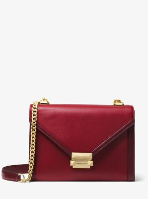 마이클 마이클 코어스 Michael Michael Kors Whitney Large Two-Tone Leather Convertible Shoulder Bag,MAROON/OXBLD
