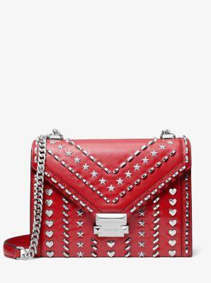 마이클 코어스 휘트니 숄더백 MICHAEL KORS X YANG MI Whitney Large Studded Leather Convertible Shoulder Bag,BRIGHT RED