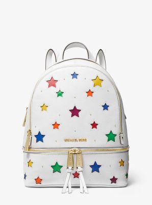 마이클 마이클 코어스 백팩 Michael Michael Kors Rhea Medium Star-Cutout Pebbled Leather Backpack,OPTIC WHITE